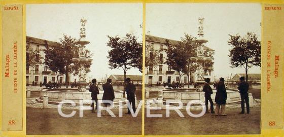 Ernest Lamy_Málaga_Fuente la Alameda_Albúmina_estereoscópica_1863
