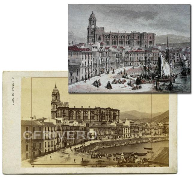 Grabado de Doré de Málaga y fotografía de Spreafico de la misma imagen