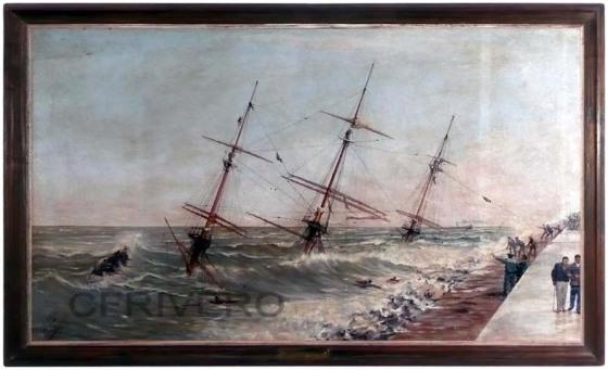 Fotografía del óleo de Eulogio Genovés que representa el naufragio de la fragata alemana Gneisenau en la bahía de Málaga en 1900.