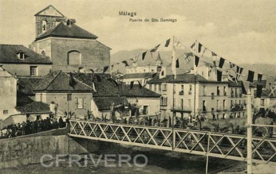 Tarjeteta postal, puente de los Alemanes en Málaga, junto al convento de Santo Domingo. Ed. Domingo del Río. Málaga