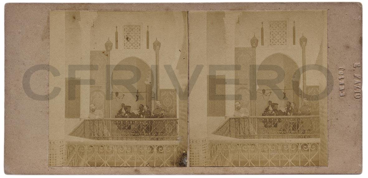 Enrique Fazio. Tetuán, casa del judío Ersini en la que murió el General Ríos. Albúmina. Par estereoscópico, 1860
