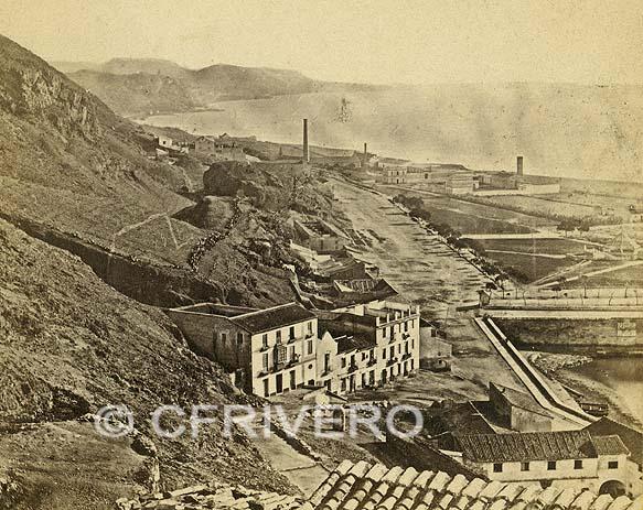 Mitad de un par estereoscópico de una fotografía de los hermanos Gaudin: Málaga, camino de Vélez. 1857. Colección Fernández Rivero