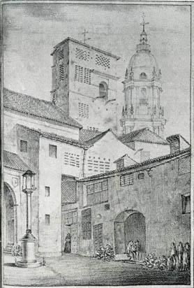 Grabado del Convento de Santa Clara en Málaga. El Guadalorce 1840