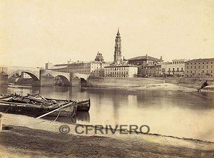Robert P. Napper. Zaragoza desde el Noroeste, el puente de piedra y la Seo. [Frith's Series] Albúmina. c. 1863