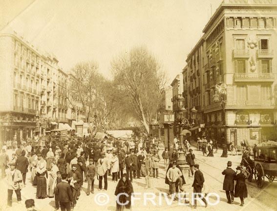 Fotografía de Levy. Rambla de las Flores en Barcelona, 1888. Albúmina. Colección Fernández Rivero