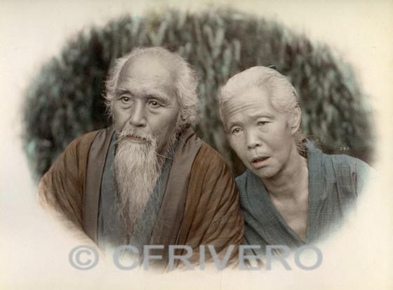 Kusakabe Kimbei. [Pareja de ancianos japoneses]  Yokohama 1890. Albúmina coloreada. Col. Fernández Rivero
