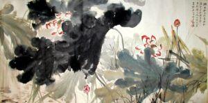 Acuarela con flores del artista chino Shang Daqian