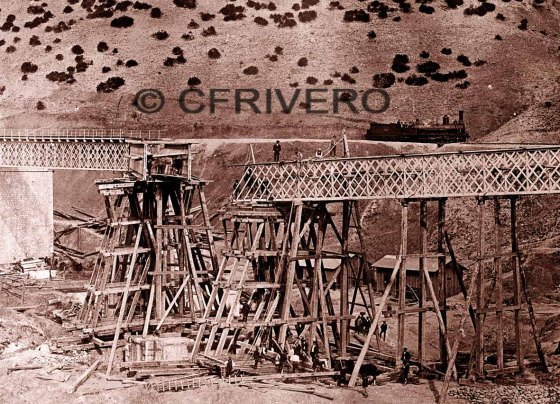 Fotografía de José Spreáfico de la construcción de la línea de ferrocarril Córdoba-Málaga en 1863