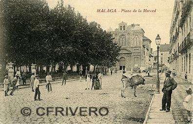 Málaga, Plaza de la Merced. Tarjeta postal: Edición de Ferrer Escobar, Málaga. ca. 1910-1915