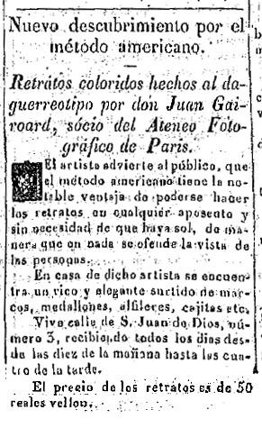 """Anuncio del daguerrotipista francés Jean H Gairoard en el periódico """"El avisador malagueño"""" de Málaga en 1849"""