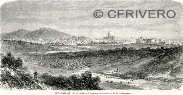 Vue Générale de Malaga. - D'après une photographie de M. G. de Beaucorps. L'Ilustration Journal Universel. v. 39, Paris 1862 (Colección Fernández Rivero)