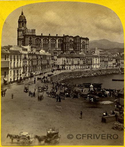 Ernest Lamy. Málaga, catedral y muelle. Mitad de un par estereoscópico. Albúmina. 1863 (Col. Fernández Rivero)