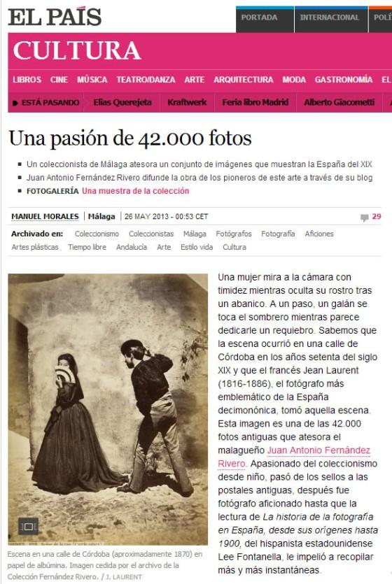 Imagen de la sección cultural del diario El País (versión difital) del 26 de Mayo de 2013, dedicada a la Colección Fernández Rivero de Fotografía Antigua