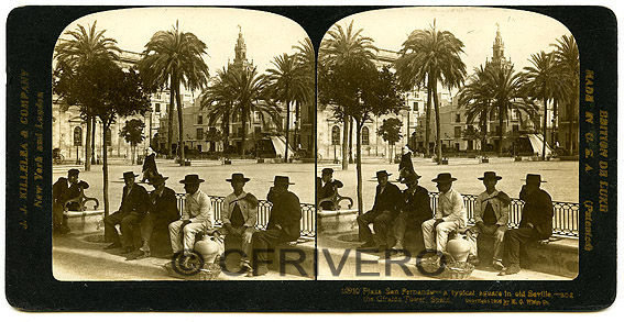 Herber George Ponting. Plaza San Fernando a typical square in old Seville and the Giralda Tower. Estereoscopia, gelatinobromuro. 1907 (Col. Fernández Rivero)