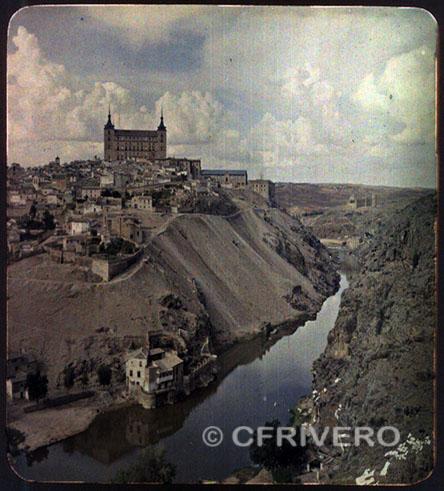 D. Olivier. Tolede, l'Alcazar et la gorge du Tage. Autocromo. c.a. 1910