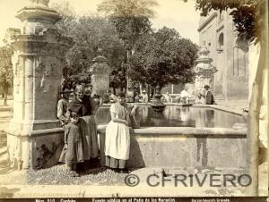 Rafael Garzón. Nº 510. Córdoba. Fuente pública en el Patio de los Naranjos. Ca. 1885. Albúmina sobre papel.
