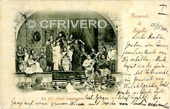 Emilio Beauchy. Recuerdo de Sevilla. nº17 Café cantante. Tarjeta Postal 1901
