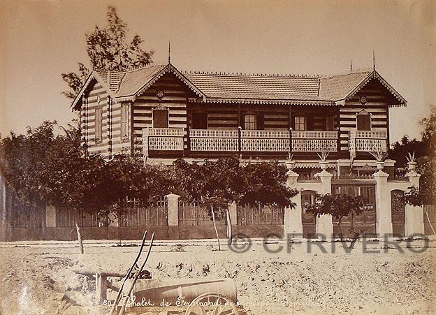 Residencia de los Lesseps en Ismailia (Egipto) Fotografía de Hipolyte Arnaux. Hacia 1865