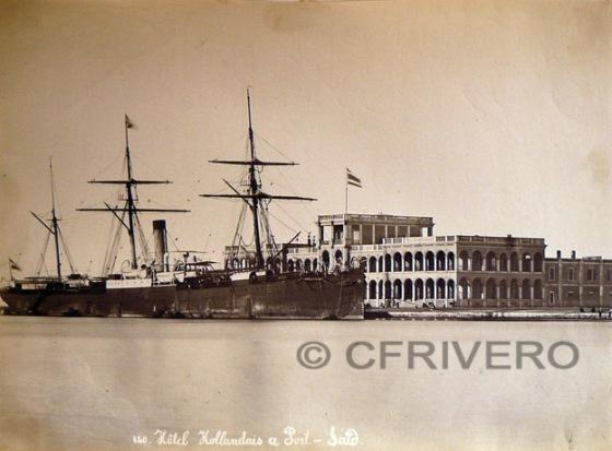 Fotografía de Hipolyte Arnaux en Port-Said. Hotel Hollandais