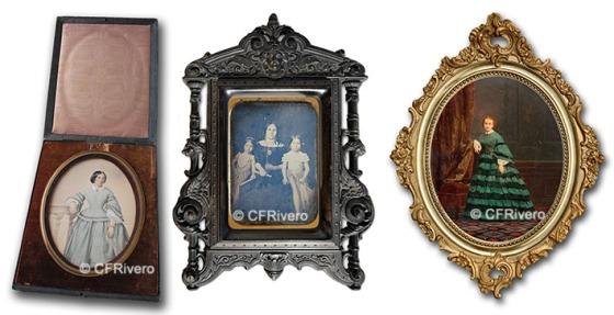 Ejemplos de albúminas coloreadas y daguerrotipos