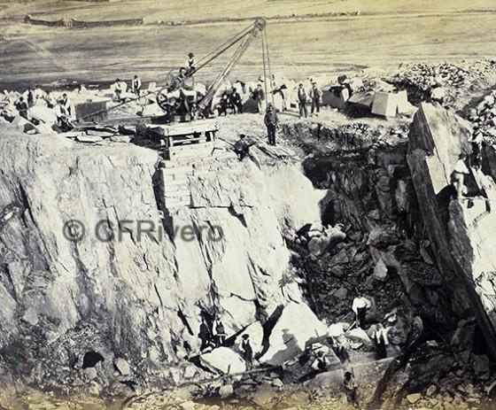 Jean Laurent. Detalle de unas canteras en Zamora en 1866/67. Fotografía en albúmina. (Col. Fernández Rivero)