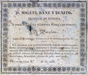 Etiqueta pegada al dorso de un daguerrotipo de Miguel Sanz y Benito. Pamplona 1850. (Col. Fernández Rivero)
