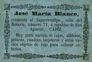 Etiqueta pegada al dorso de un daguerrotipo de José María Blanco. Cádiz, hacia 1850. (Colección Fernández Rivero)