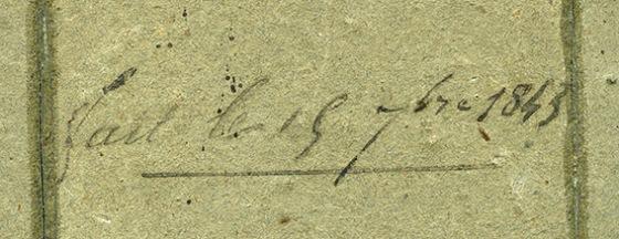 """Inscripción ampliada del reverso del daguerrotipo """"Retrato de dama"""""""