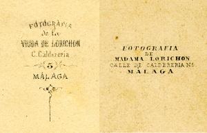 """Dos inscripciones de imprenta en los dorsos de las """"cartes de visite"""" de la Viuda de Lorichon"""