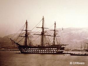 Autor desconocido (Francia). Navío de la Armada francesa en la rada de Toulon. Albúmina. Ca. 1865