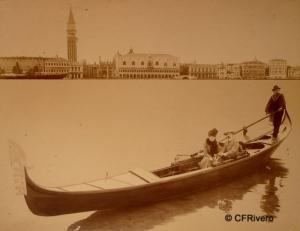 Genova, Antonio (Venecia). Gondolero en Venecia. Albúmina. Ca. 1890