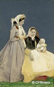 Sala, Marcos fot. (Activo 1860-1886) Martínez pº. Barcelona. Retrato familiar con un niño muerto. Carte de visite en albúmina. Ca. 1865