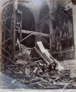 Beauchy, Emilio (Sevilla). Hundimiento de la Catedral de Sevilla. Albúmina. 1888