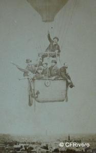Delon, Eugene (1868-1890) Toulouse-Francia. Grupo de caballeros en un globo aerostático. Cabinet en albúmina. 1870