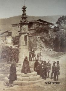 Clifford, Charles (1819-1863) Madrid. Jarandilla de la Vera, grupo ante la cruz gótica. Albúmina. 1858
