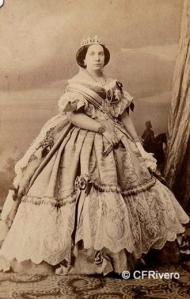 Martínez de Hebert, Pedro (1819-1891) Madrid. Retrato de Isabel II de España. Carte de visite en albúmina. Ca. 1860