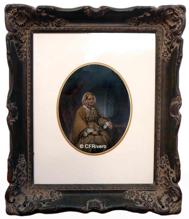 Autor desconocido (Inglaterra). Retrato de señora anciana. Ambrotipo iluminado. Ca. 1860