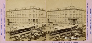Stiehm J. F. (Berlin). Kaiserl: Schloss, Wiesbaden - Alemania. Cartulina estereoscópica, albúmina. 1870