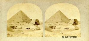 Frith, Francis (1822-1898) Londres. The Sphynx and the Great Pyramid. Cartulina estereoscópica, albúmina. 1856