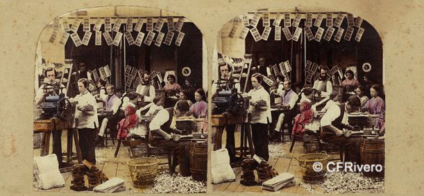 Gaudin et frères, A. (Activo 1855-1872) Paris. Interior of Stereographic Manufactory. Cartulina estereoscópica, albúmina iluminada. Ca. 1859