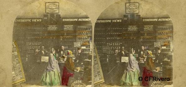 """Autor desconocido. Comercio de vistas e instrumentos estereoscópicos """"D. Appleton & Co."""" en Boston. Cartulina estereoscópica, albúmina iluminada. Ca. 1859"""