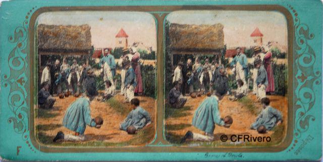 Fraget & Viret (Fraget, Alphonse et Viret, Frederic. Francia. Activos 1860/70 ?). Les Joeurs de boules.  Cartulina estereoscópica, albúmina iluminada. 1855/60