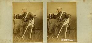 Wilson, George Washington (1823-1893) Aberdeen. Retrato del Teniente Coronel W. Burnett Ramsey (1821-1865).Cartulina estereoscópica, albúmina. 1857