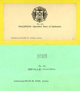 Dorsos de las cartulinas estereoscópicas editadas por Frank M. Good.
