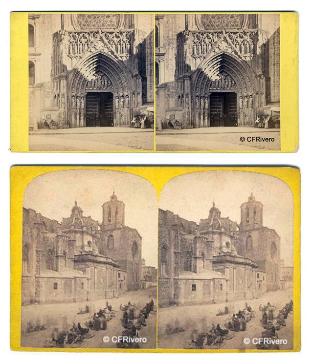 Frank M. Good. Valencia- Apostles's door of Cathedral / Tarragona- The Cathedral. Cartulinas estereoscópicas. Albúmina. Ca. 1873