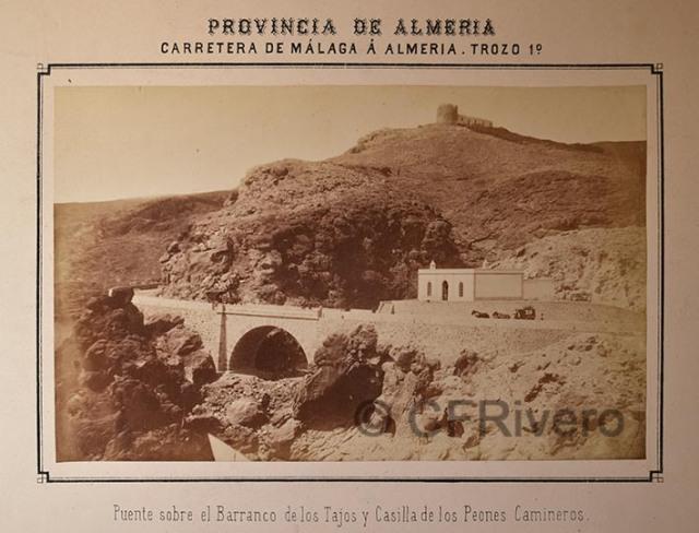 Autor desconocido. Puente sobre el Barranco de los TAjos y Casilla de los Peones Camineros [Almería]. Albúmina, 1873