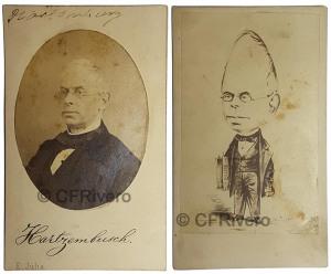 Juliá, E. Retrato de Juan Eugenio Hartzenbusch Martínez. Madrid. Ca. 1865. Albúmina. Caricatura anónima.