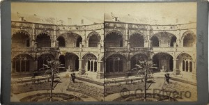 Jean Laurent. Claustro del Monasterio de los Jerónimos de Belén. Lisboa (Portugal). Stereoscopia en albúmina, Ca. 1870