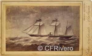 """Emilio Morera. Reproducción del óleo """"Vapor Confederado Alabama"""". Carte de visite en albúmina. Barcelona, Ca. 1865"""