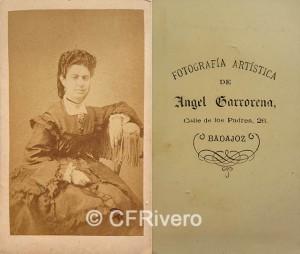 Ángel Garrorena Bernabé. Retrato de señora. Carte de visite en albúmina. Badajóz, 1868.